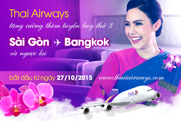 Thai Airways: Thông báo tăng cường tuyến bay mới