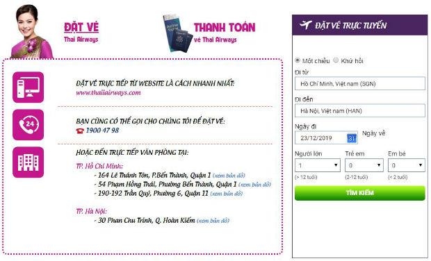 Đặt mua vé Thai Airways